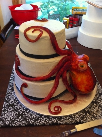 Awesome Octopus wedding cake By RejectedSeoul on CakeCentral.com