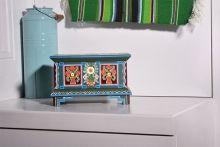skrzynia ludowa, skrzynki ludowe, szkatułka ludowa, szkatułka folk, łowicz, ręcznie malowane, zielony