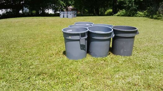 A fun twist on Beer Pong - use a volley ball and garbage pails to get everyone up and socializing
