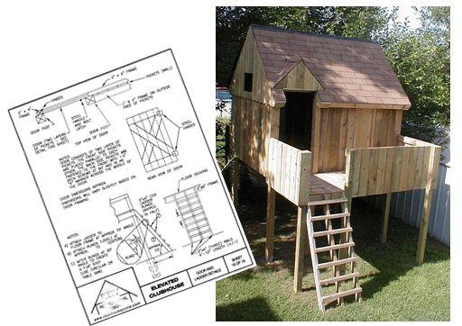 Elevated playhouse plans backyard pinterest decks for Backyard clubhouse plans