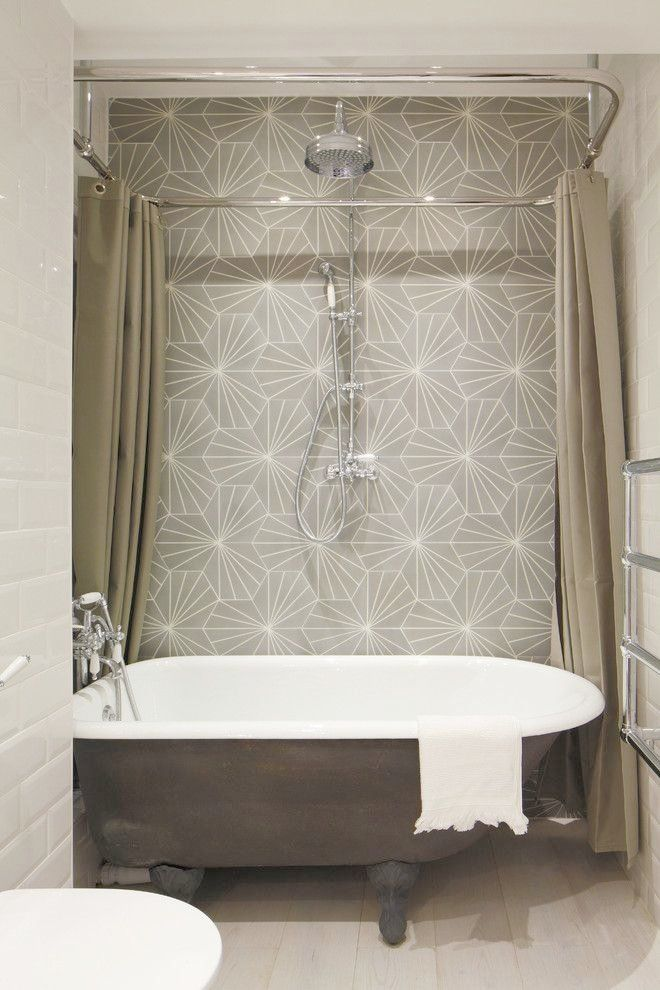 Attractive Shower Curtain Solutions For Clawfoot Tub Interesting Tile Pattern With Free Standing Tub Clawfoot Tub Shower Tub Shower Combo Bathroom Tub Shower