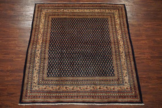 Navy Blue 7x8 Persian Sarabad Sarouk Mir 1960 S Hand Knotted Wool Area Rug Square Oriental Carpet 7 1 X 8 3 Square Pe Wool Area Rugs Rugs Oriental Carpets