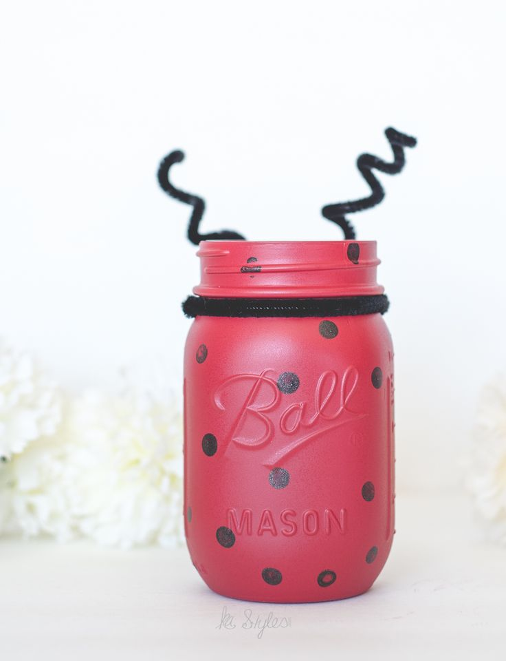 DIY Ladybug mason jar. Perfect for Ladybug themed parties.