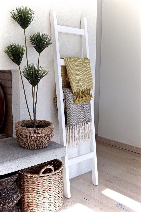Blanket Ladder | Wood Quilt Ladder | White Blanket Ladder | Towel Hanger | Living Room Decor | Bathroom Decor | Painted White 6' Chunky
