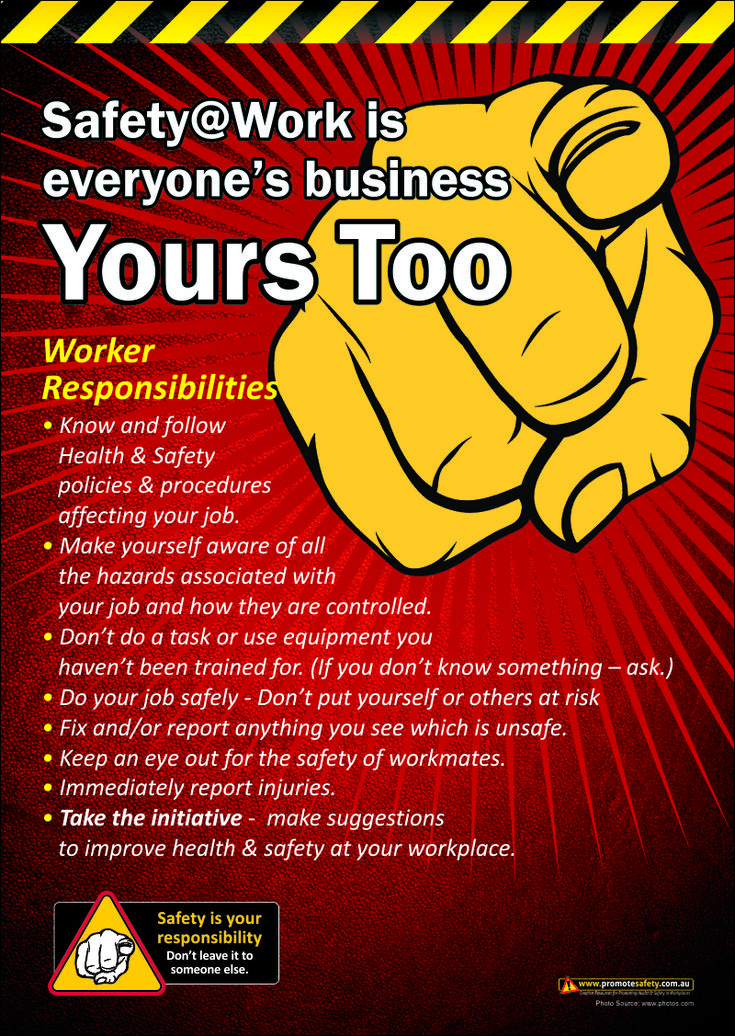 Workplace Safety is Everyone's Business. A3 size workplace safety poster outlining responsibilities for workplace safety.