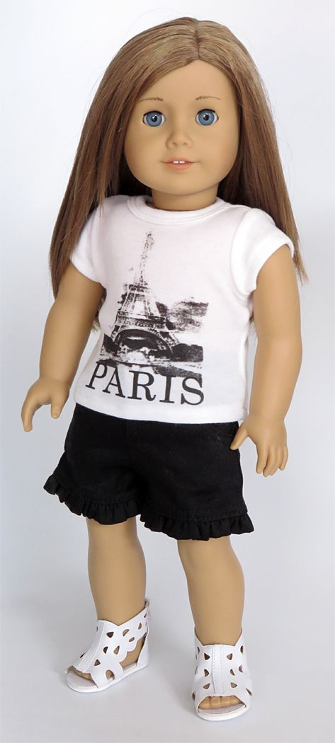 Silly Monkey - White Paris Tee and Black Shorts (American Girl Doll), $15.99 (http://www.silly-monkey.com/products/white-paris-tee-and-black-shorts-american-girl-doll.html)
