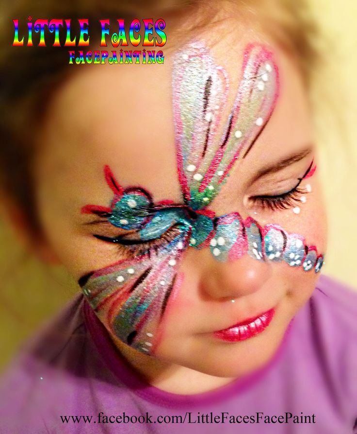 Dragonfly Girls Face Painting by Little Faces Face Painting Wollongong