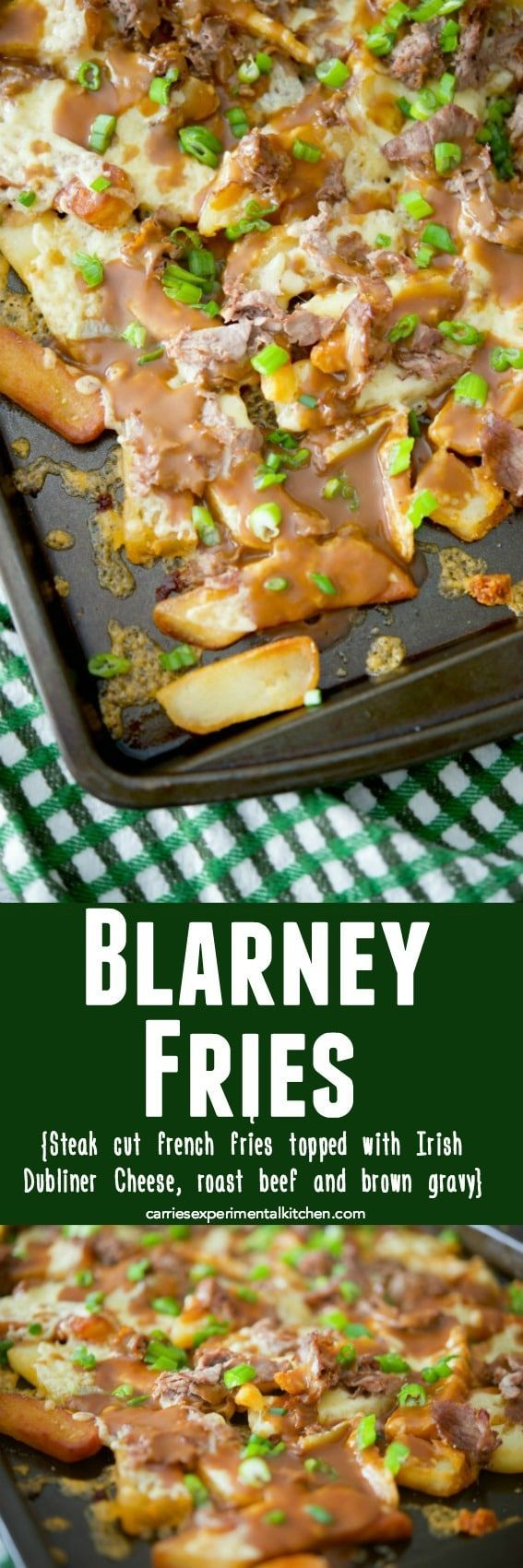 Blarney Fries. An easier version of an Irish Poutine. With steak cut french fries, Irish Dubliner cheese, and shaved roast beef. All topped with brown gravy. A yummy lunch or snack idea for St. Patrick's Day!!