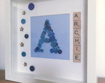 Boys personalised initial box frame Wooden by Inspirewordart