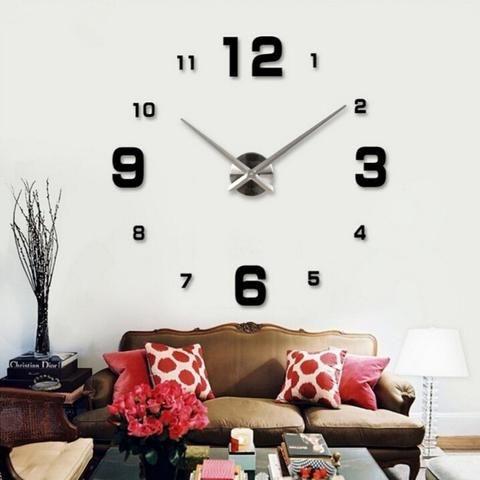 3d Home Decoration Big Mirror Wall Clock Modern Design, Large Size Wall Clocks, DIY Wall Sticker