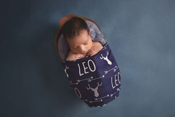 Buck & Arrows Design  Personalized Swaddle Blanket by AudreysBear