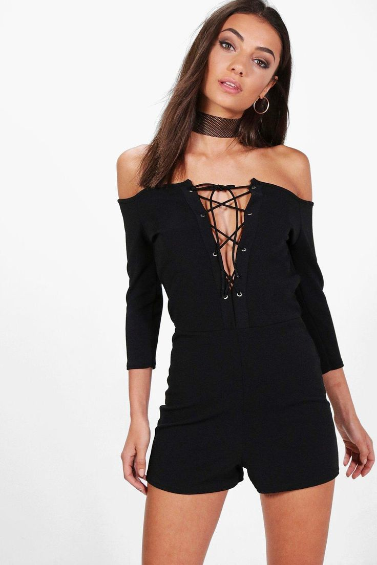 Tall Effie Off The Shoulder Lace Up Playsuit