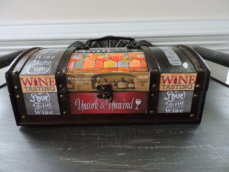 Trunk, Storage, Decoupage Antique Trunk, Wine Holder, Southwestern Design Storage 2 Bottle Wine Holder House Decoration Table Box by DecoupageItCreations on Etsy
