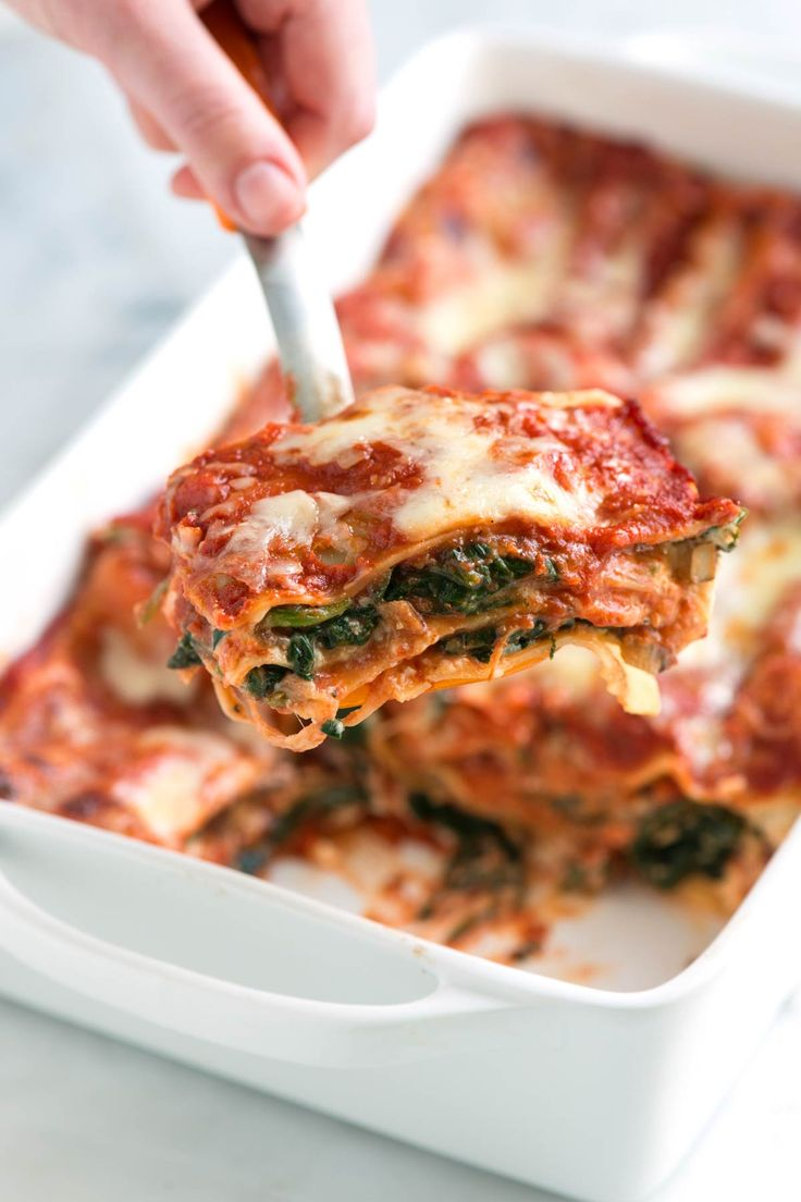 Easy spinach lasagna recipe with fresh spinach, flavorful mushrooms, light…