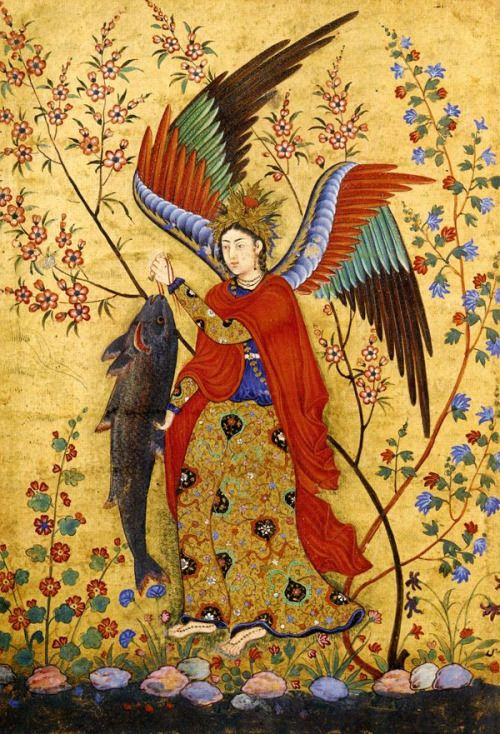 The Angel, Persian Water Colour Painting on Old Urdu Manuscript Paper.