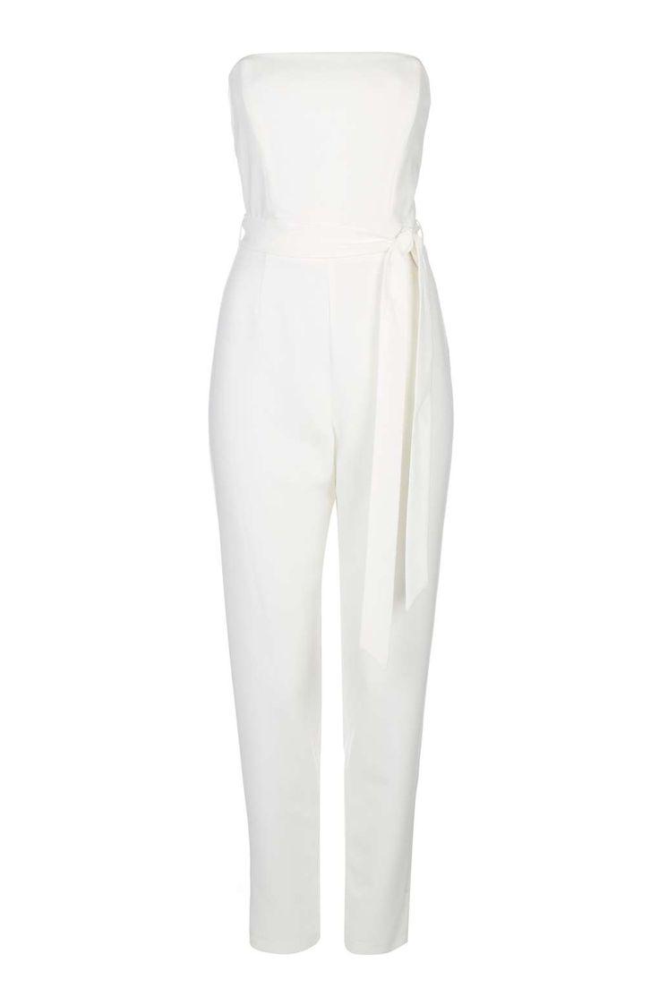 White Strapless Jumpsuit - Wallis