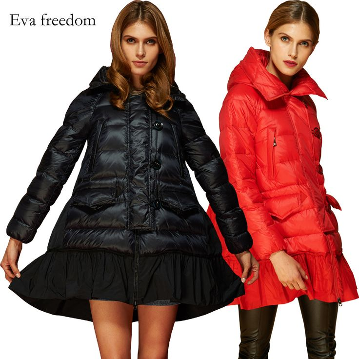 Europe stands long in the new female down jacket type A Evafreedom ladies loose hooded eiderdown outerwear wholesale