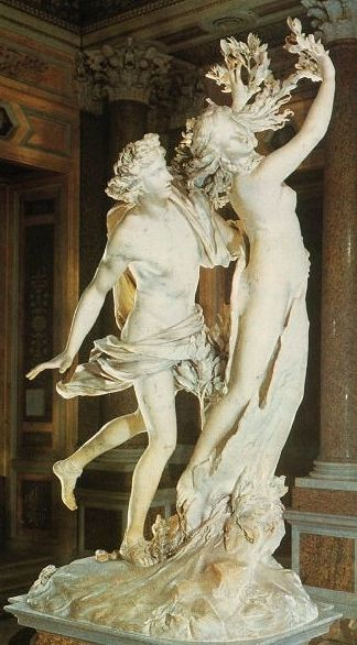 Apollo and Daphne: Marble statue by Bernini (1598 - 1680) depicting the chaste nymph Daphne being changed into a laurel tree when she tries to flee from Apollo.