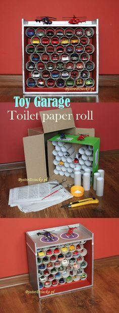 DIY Spielzeuggarage aus Toilettenpapierrollen und Pappkartons – Toilettenpapier …