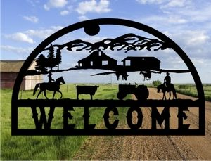 Metal cut out Farm / Ranch sign from MetalDesignWorx.com. Can be personalized! Many designs!