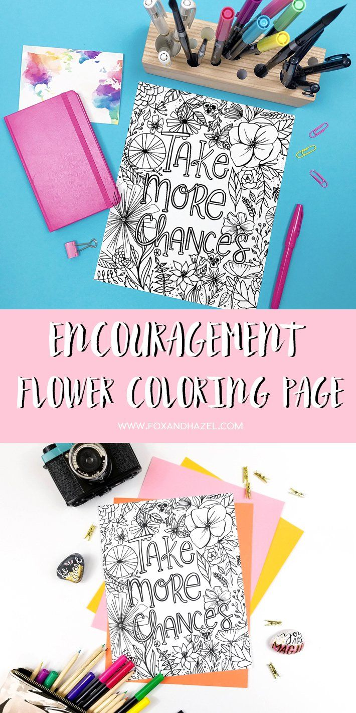 Free Encouragement Flower Coloring Page Printable - Fox + Hazel