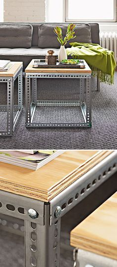 These industrial coffee tables are so great!  All you need is a trip to your local hardware store and some elbow grease!