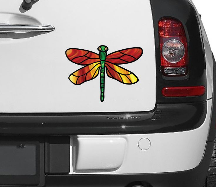 "CLR:CAR - Stained Glass Dragonfly D2 - Color Printed Vinyl Decal © YYDC (6""w x 4.25""h) (Color Choices Available)1"