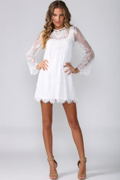 bohemian dress white