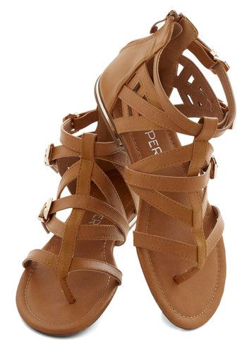 Key to Strappiness Sandal - Flat, Faux Leather, Tan, Solid, Weekend, Good, Strappy, Summer, Casual, Beach/Resort, Festival