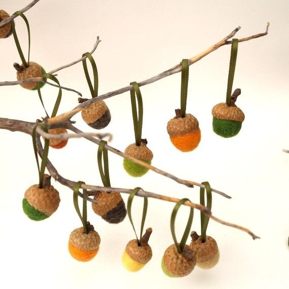 Felted Wool Acorn Ornaments a nature inspired door Fairyfolk