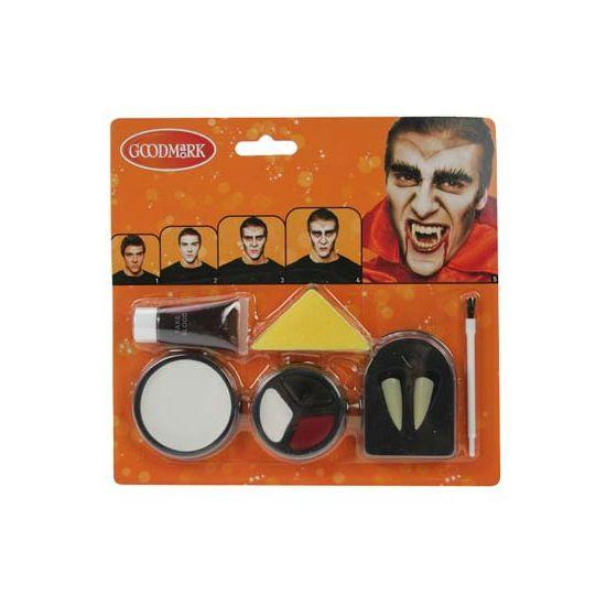 Schmink set vampier. Schmink set om jezelf om te toveren tot vampier. De set bestaat uit 2 vampieren tandjes, schmink, tube bloed en een sponsje.