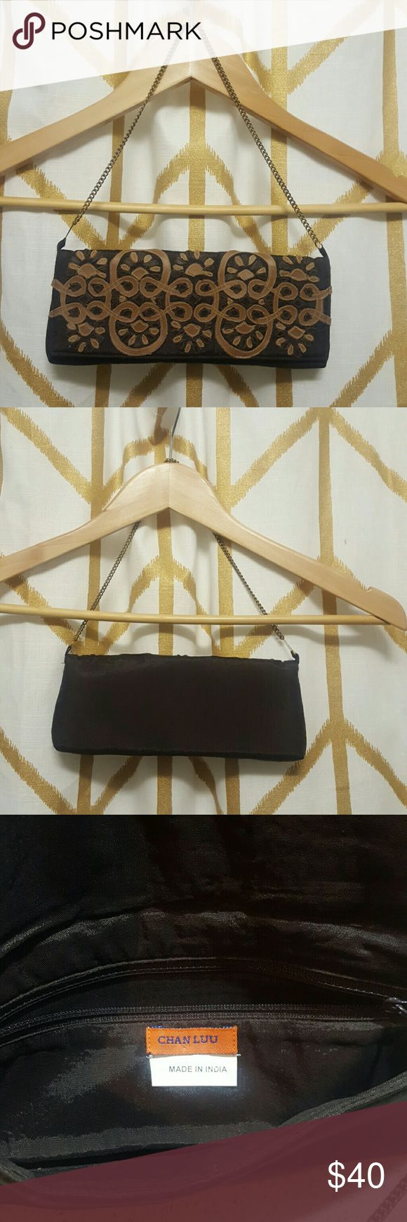 Chan Luu Baguette Canvas baguette with leather details.  Chain strap. Chan Luu Bags Clutches & Wristlets