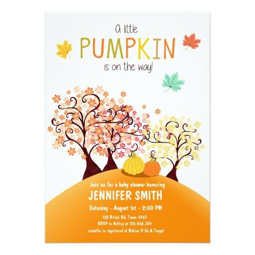 Baby Shower invite Little Pumpkin Fall tree