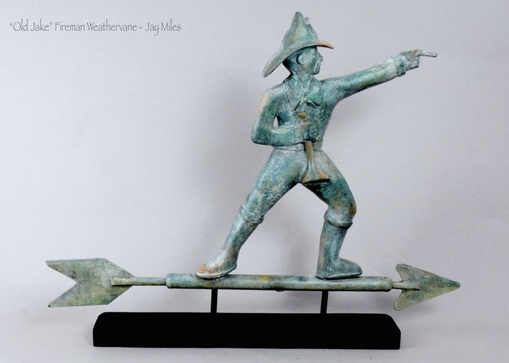 """Fireman Weathervane with antique copper/gold leaf finish - $650 by Jay Miles 19""""H and 24""""L (arrow)"""