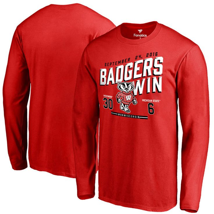 Wisconsin Badgers vs. Michigan State Spartans 2016 Score Long Sleeve T-Shirt - Red