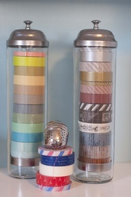 Straw dispensers for washi tape storage.  Hold me back!