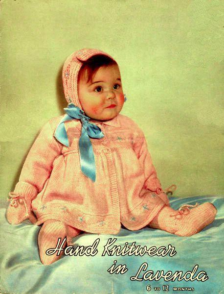 PDF Vintage Baby Girl Pram Set Knitting Pattern 1950s LAVENDA