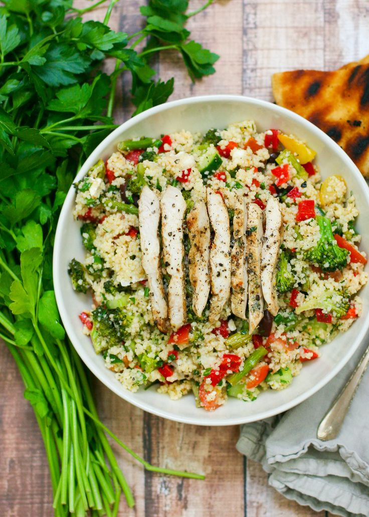 Veggie Packed Couscous Salad with Lemon Oregano Chicken. Delicious and full of veggies and herbs.