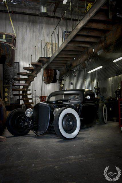 Super badass: The Loft, Cars, Ratrods, Rats Rods, Industrial Style, Dreams Garage, Loft Spaces, Hot Rods, Hotrods