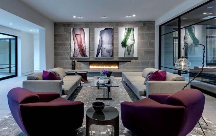 wohnzimmer ideen, drei große bilder, einrichtung in grau ...