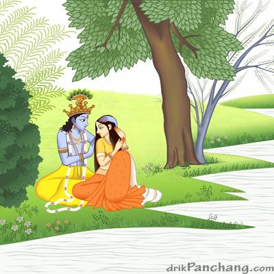 Krishna Arranging Tresses of Radha