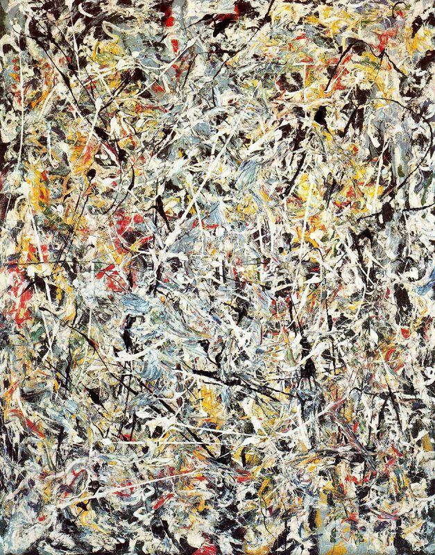 Jackson Pollock - Luz blanca (1954). Expresionismo abstracto. Óleo sobre lienzo de 122,4 x 96,9 cm. Museum of Modern Art (New York), EE.UU