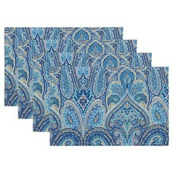 Blue Floral Waverly Home Indoor Outdoor Acrylic Coated Fabric Placemats Set of 4