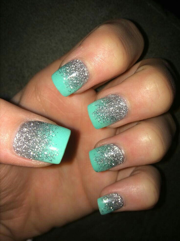 so pretty sparkly glitter and blue nails #soprettynails