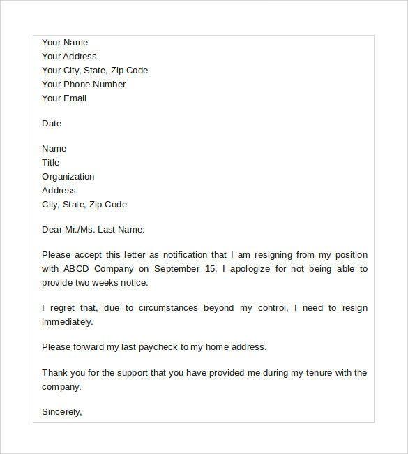 Sample Resignation Letter No Notice Lovely Sample Resignation Letter No Notice 7 Free Documents In Resignation Letters Resignation Letter Resignation