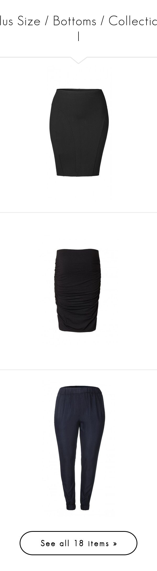 """""""Plus Size / Bottoms / Collection I"""" by meelstyle ❤ liked on Polyvore featuring skirts, knee length pencil skirt, pencil skirt, carmakoma, pants, women's plus size pants, womens plus pants, plus size trousers, plus size pants and outerwear"""