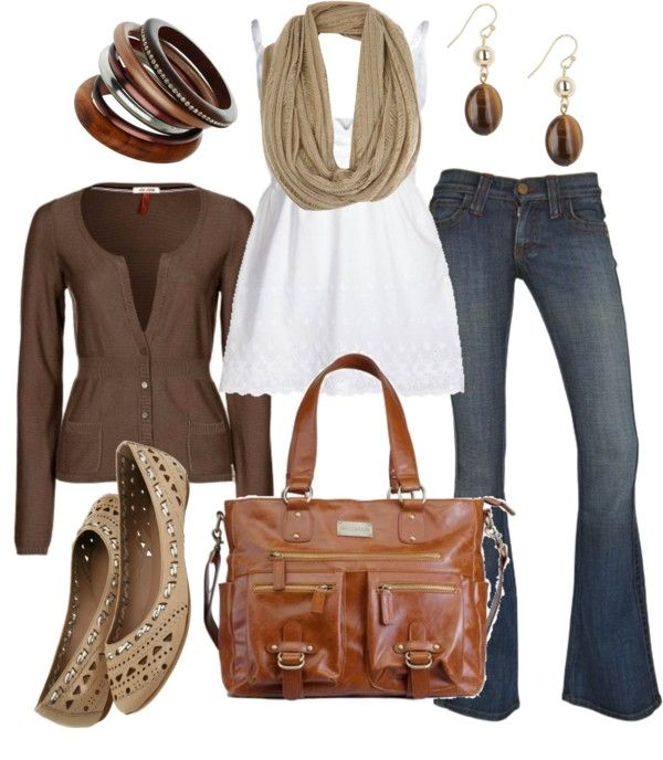 Neutral browns: Shoes, Jeans Outfits, Style, Earth Tones, Color, Fall Outfits, Hershey Kiss, Casual Outfits, Bags