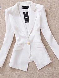 trabalho médio de manga longa blazer regulares das mulheres (misturas de algodão)