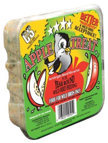 C & S Products Suet Apple Treat, 12-Piece by C & S. $30.91. Attracts a wider variety of birds due to the quality of ingredients and is a great value for today's wild bird feeding customer. Treats and Delights are also nutritionally balanced to provide wild birds with much needed energy. Wild bird acceptance is overwhelming and confirmed by independent research. Suet - Apple Treat (12 units) Attracts more birds and gives the wild bird feeding enthusiast peace of mind knowing th...