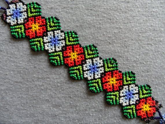 Huichol Peyote Bracelet Red White Flowers